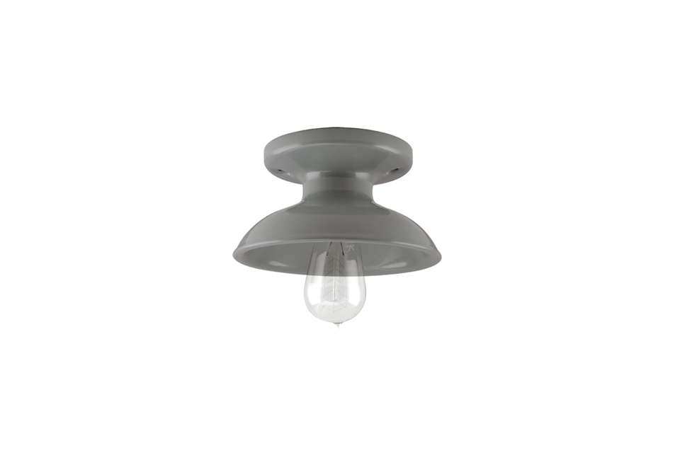 The Kao Flush Mount Light, shown in gray, is a classic porcelain style; $135 at Barn Light Electric.