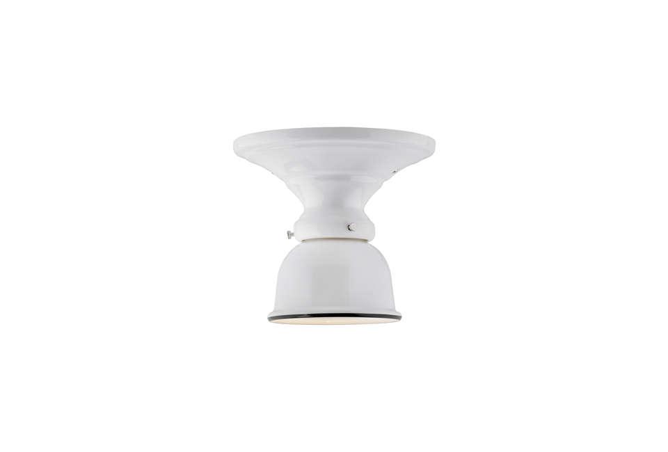 The Hannah Medium Semi-Flush Mount Light has a black enamel rim and retro shape; $205 at Rejuvenation.