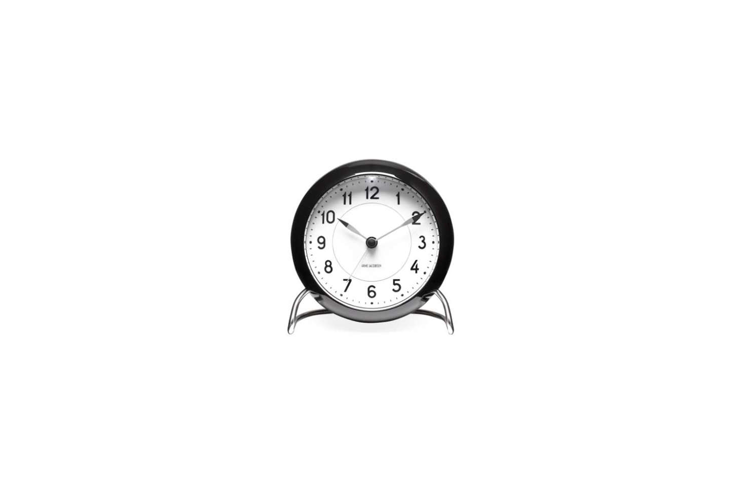 Designed by Arne Jacobsen, the classic Station Alarm Clock in black is $src=
