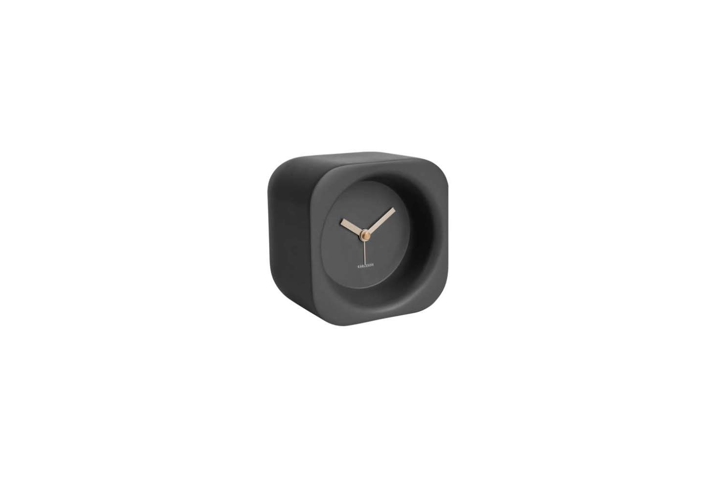 The Karlsson Chunky Alarm Clock, shown in Black, is made of polyresin and a gold finish; $ at Royal Design. Also available in Sand or Grey.