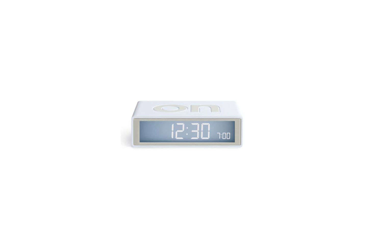 One of our editors swears by this simple alarm clock: the Lexon Flip Travel Alarm Clock designed by Adrian & Jeremy Wright, is turned on or off depending on which side you flip it to. Finished in silicone rubber and available in seven colors; $30 at the MoMA Design Store.