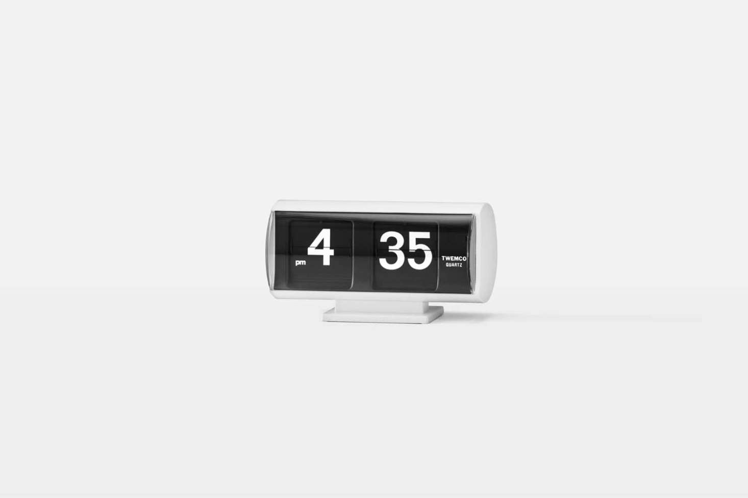 At Schoolhouse, the Flip Clock in White is made by TWEMCO, one of the original flip clock manufacturers since 56; $99 at Schoolhouse.