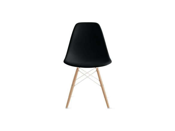 Molded Plastic Side Chair with Wood Dowel Base