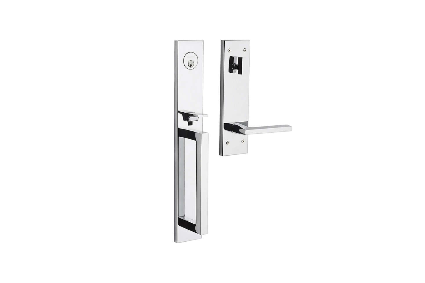 The Baldwin Minneapolis Full Escutcheon Handleset, shown in Polished Chrome, is $433.80 at Door Hardware Supply.