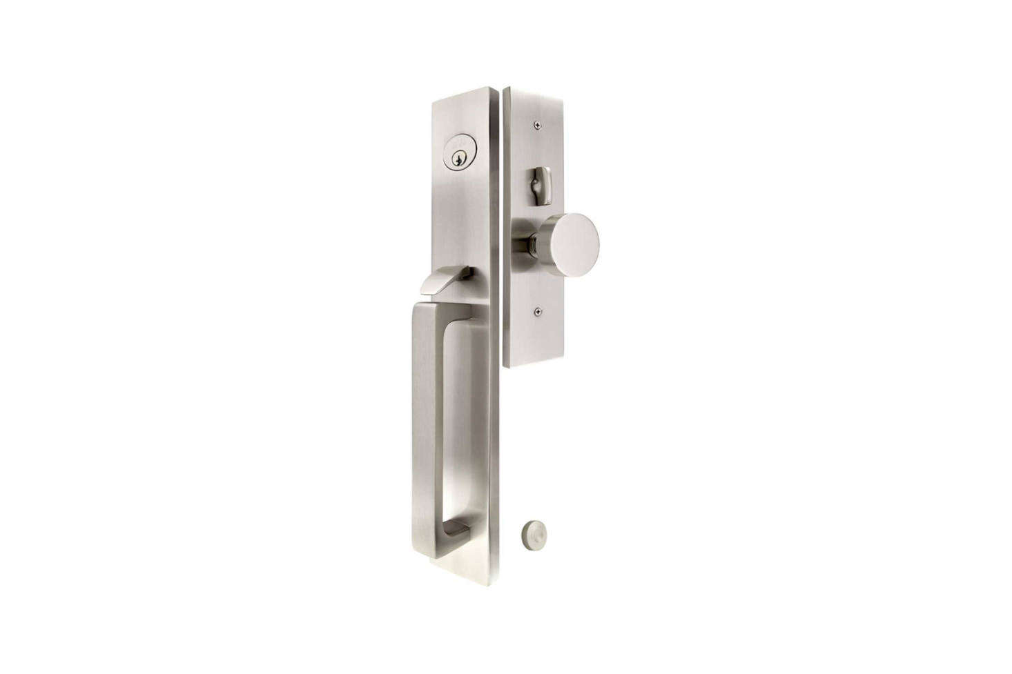 The Lugano Mortoise Entry Set comes with the choice of an interior knob or lever for $6 at House of Antique Hardware.