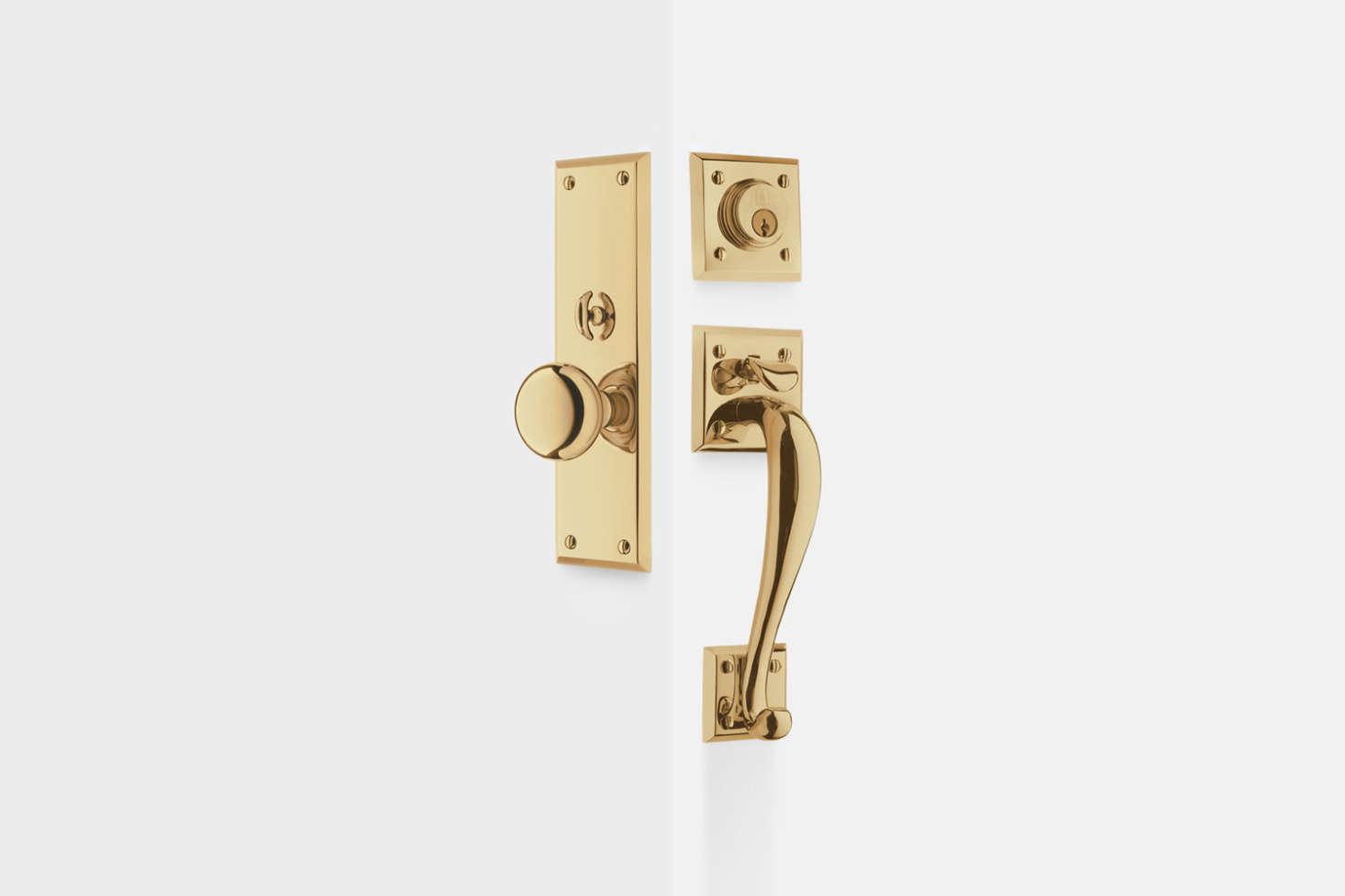 The Coleman Knob Exterior Door Mortoise Set in unlacquered brass is $699 atRejuvenation.