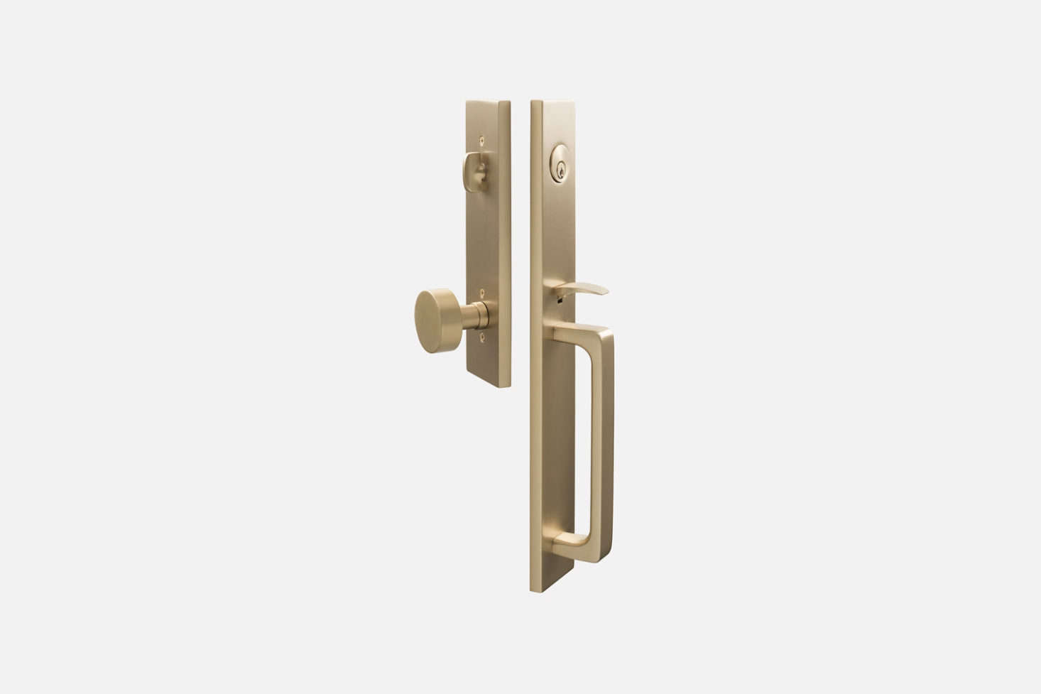 Another style from Emek available at Schoolhouse, the Lausanne Entrance Handleset with Cylinder Knob, shown in Satin Brass, for $364.