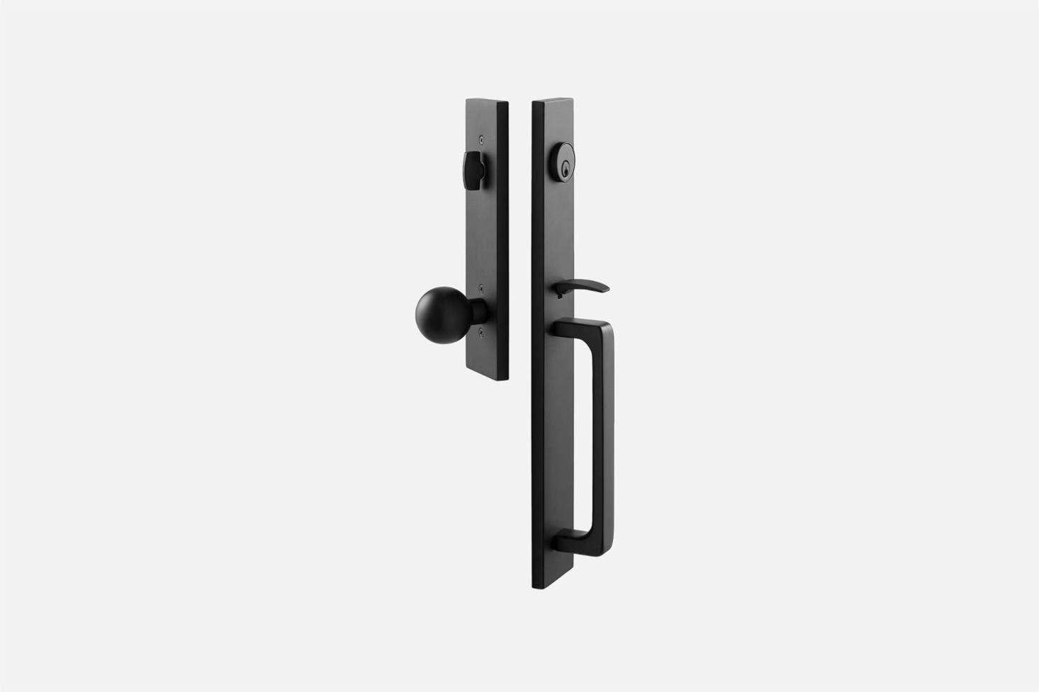 The Lausanne Entrance Handle Set with Globe Knob by Emtek is made of solid brass parts for $364 at Schoolhouse.