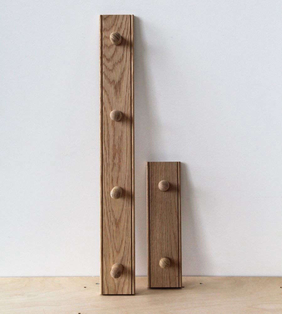 The tiny Two-Hook Oak Peg Rail from Father Rabbit is ideal for tight spaces; $89 NZD ($64.07 USD). It&#8