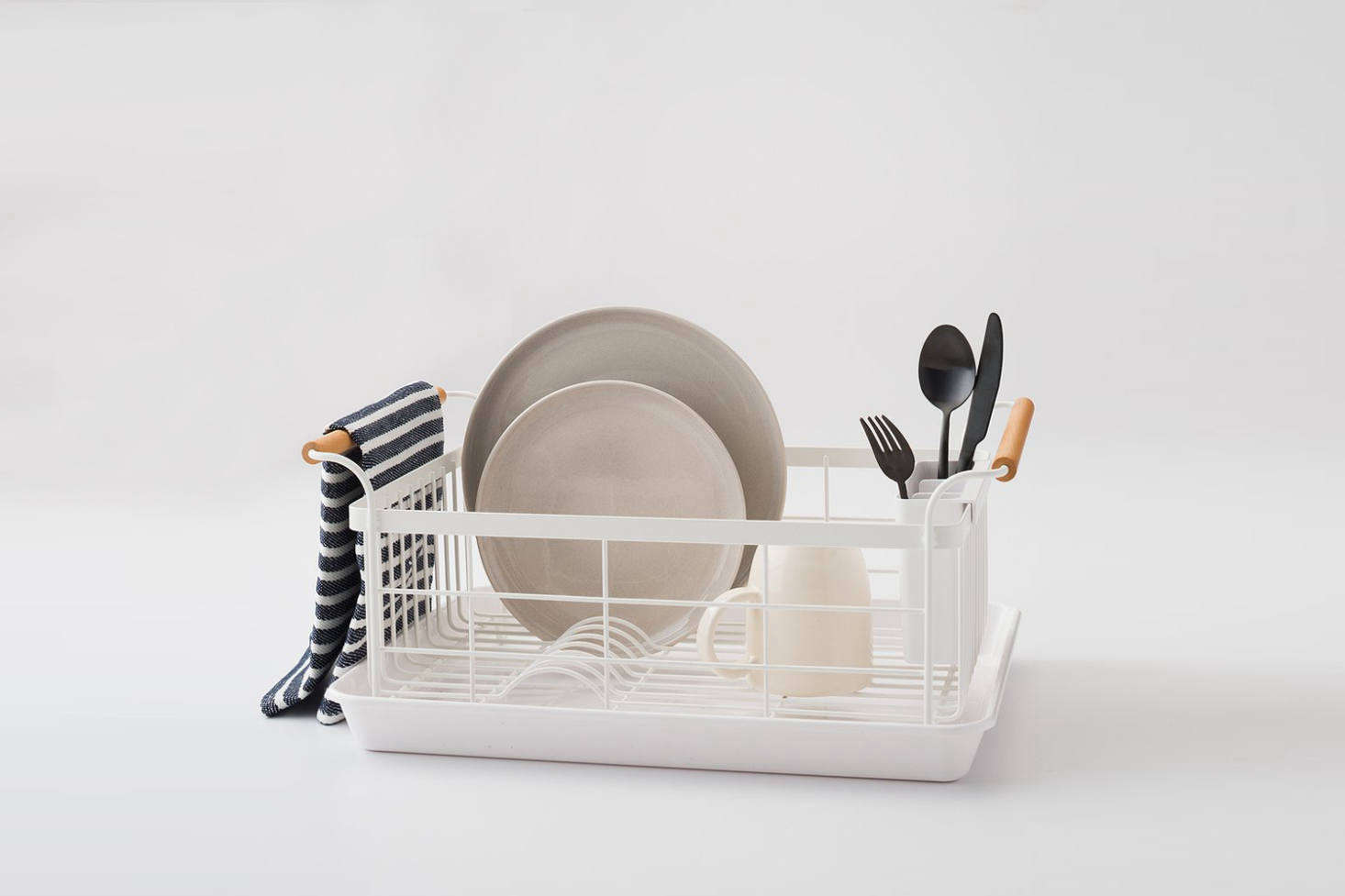 The Yamazaki Wood Handled Dish Drainer Is Made Of Powder Coated Steel And Walnut Handles