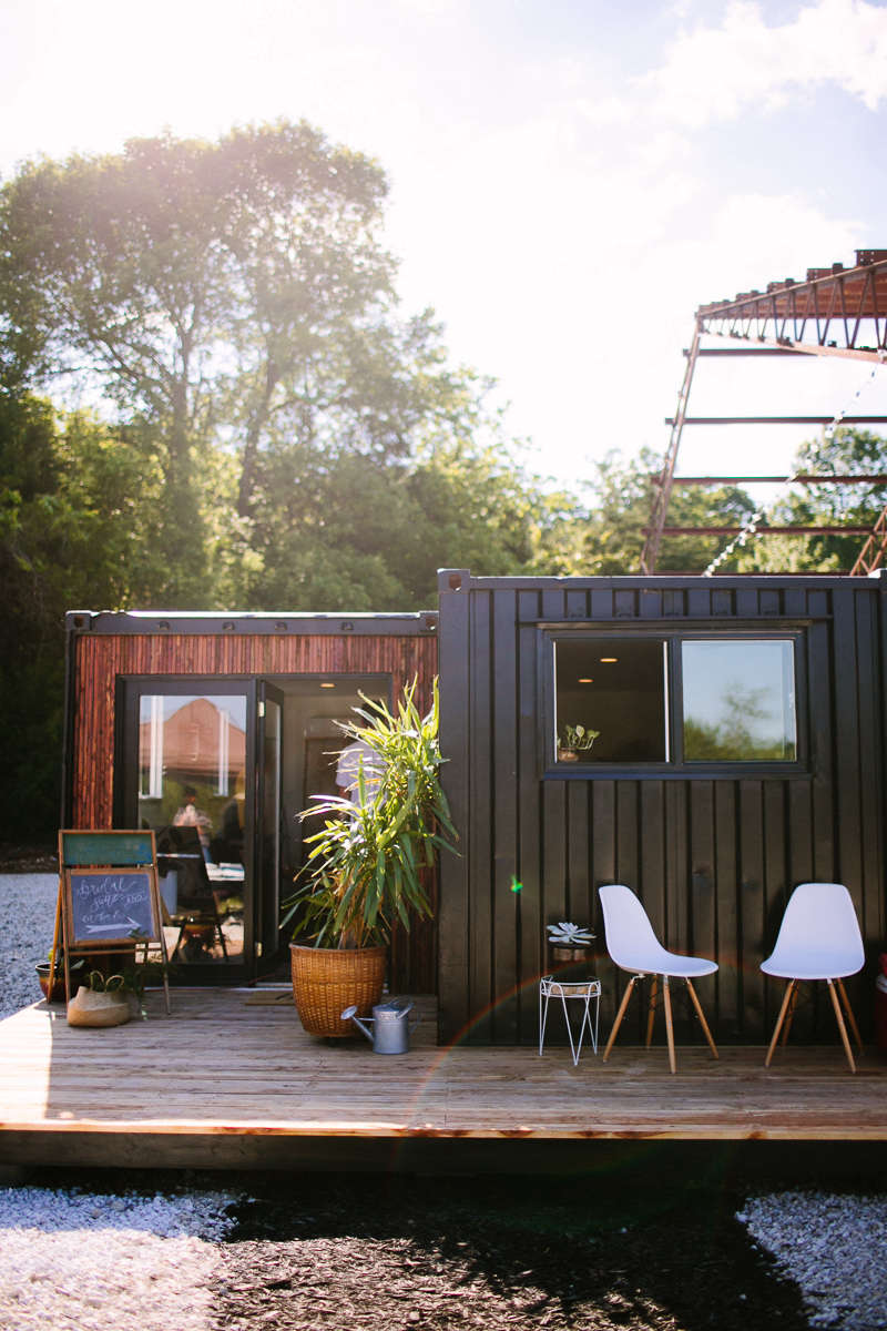 """An insulated shipping container is repurposed as a modern """"glamping"""" retreat on Airbnb in Pleasant Hope, Missouri, about a half-hour drive from Springfield."""