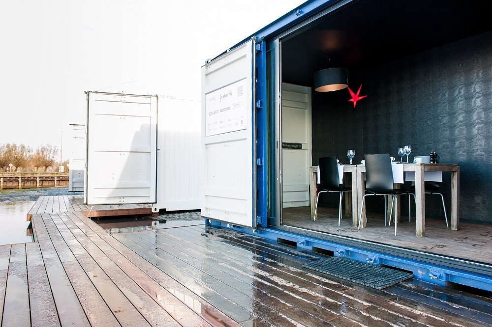 A pop-up hotel called Sleeping Around travels the globe according to demand. The hotel is made up of seven retired shipping containers kitted out with their own water system and the potential to use solar or wind energy. Once settled in a location, the rooms can be set up and fully functional within five hours.