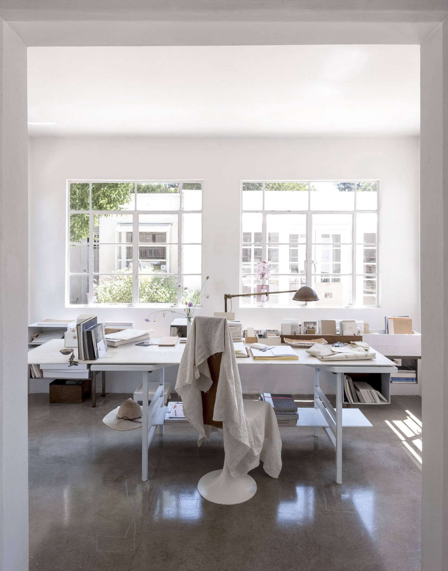 Polished concrete floors in the office  and rest of house Michaela Scherrer Remodeling 101 Concrete Floors Remodelista
