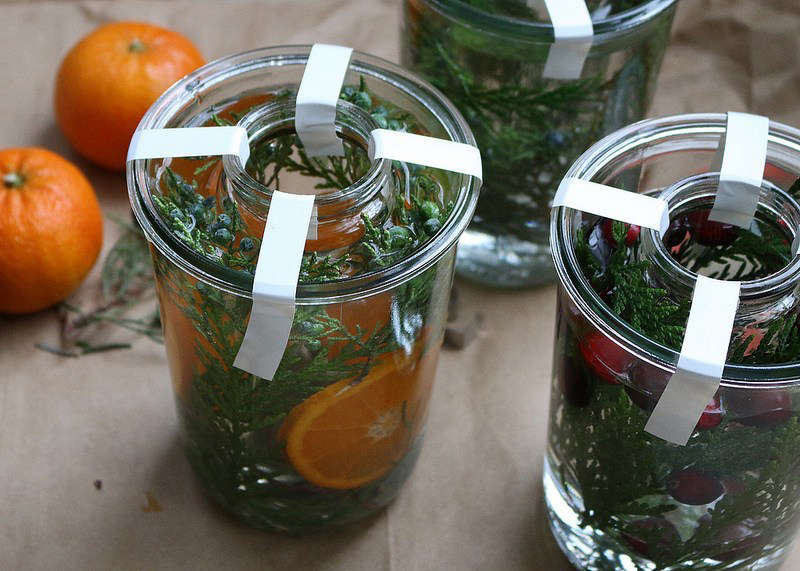 To transform the front stoop for the holidays, and to ring in the New Year:DIY: Botanical Ice Lanterns.