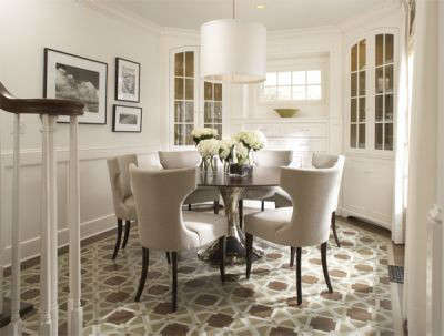 Cape Cod Traditional Dining Room U2013 The Floor Of This Cape Cod Style Dining  Room, With Built In Corner Cabinets, Features A Custom Painted Design In  Place Of ...