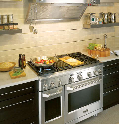 Above The Hearth Of House 48 Inch Stainless Steel Ge Monogram Professional Range Available In All Gas Or Dual Fuel Estimated Retail 11 399