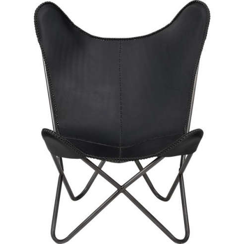 Captivating 1938 Black Leather Butterfly Chair