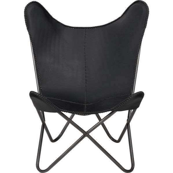 Attrayant 1938 Black Leather Butterfly Chair