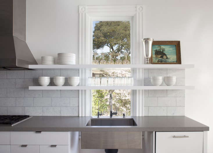 Above The Modern Shelves Float In Front Of Historic Window And Backsplash Made 6 By 12 Inch Carrara Bianca Marble Tile