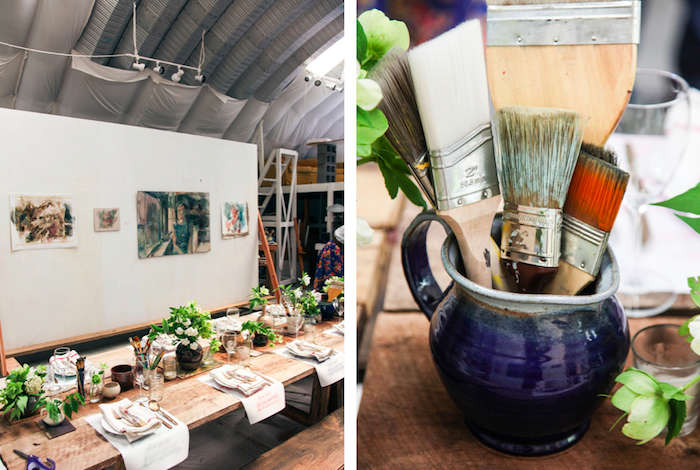 Above L: The studio is set in a midcentury industrial space; the paintings on display are Emily's own. Above R: New and old brushes in ceramic mugs mingle with the floral centerpieces.