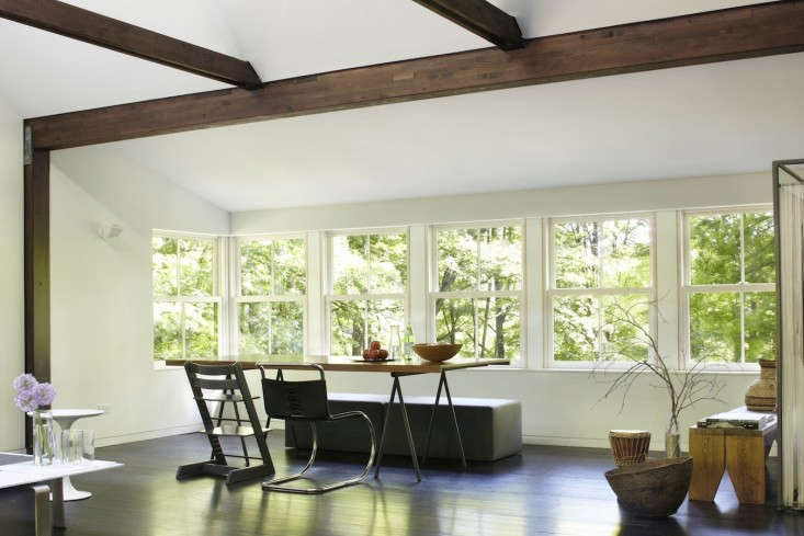 To Create A Monolithic Look They Stained The Original Oak And Maple Floors Black Messy Job