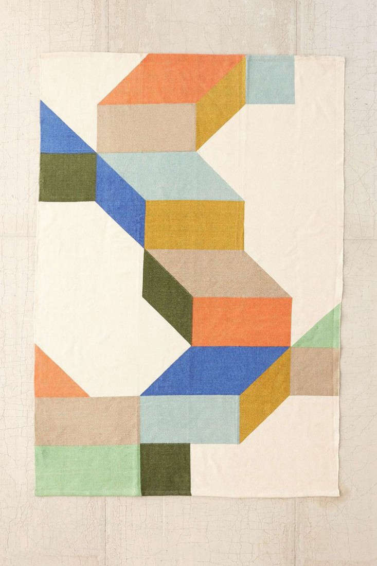 Above: The Assembly Home Complex Colorblock Printed Rug From Urban  Outfitters Is Made Of Cotton And Measures 5 By 7 Feet; $99.