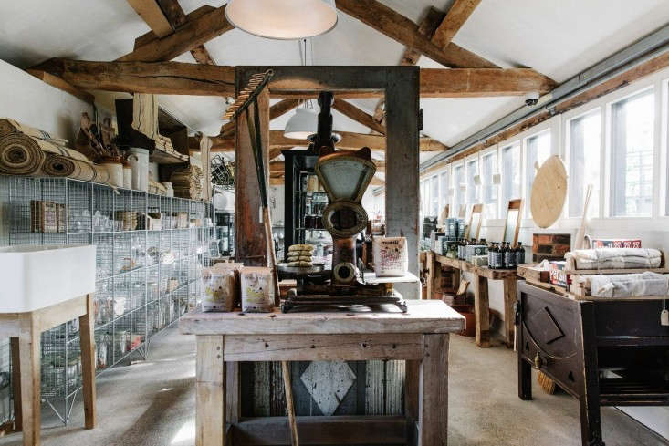 Above: In a converted farm building, the Baileys used recycled and salvaged  furniture for display; while every inch of available space is utilized, ...