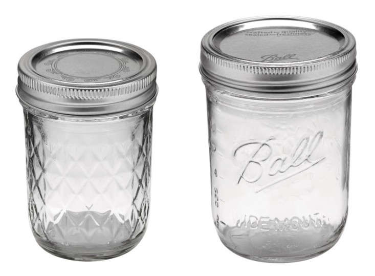 The go-to water glasses: Ball's 8 oz Quilted Crystal Jelly Mason Jars ($8.99 for 12) and 16 oz Wide-Mouth Mason Jars ($12.99 for 12), both from Ace Hardware.