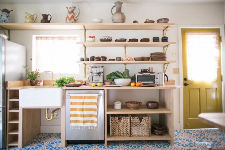 An ad-hoc modular workspace with custom-built ash shelving that takes advantage of every inch of storage space in thisKitchen of the Week: An Echo Park Kitchen Revived, Budget Edition. Photograph byNancy Neil.