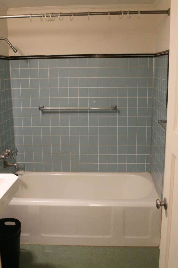 Before after the two week bath remodel for less than 5 000 remodelista - Bathtub in shower ...