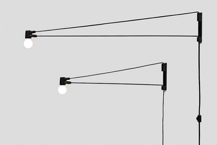 Above La Based Designer Brendan Ravenhill S Black Cord Lamp Features A Cloth Electrical That Provides Enough Tension To Hold The Pivoting Steel Arm In