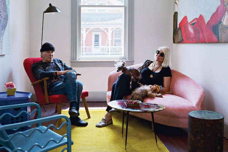Above: Brice And Helen Marden In A Second Floor Lounge (sheu0027s Sitting On A  Chaise That They Reupholstered In Pink Teddy Bear Fur).
