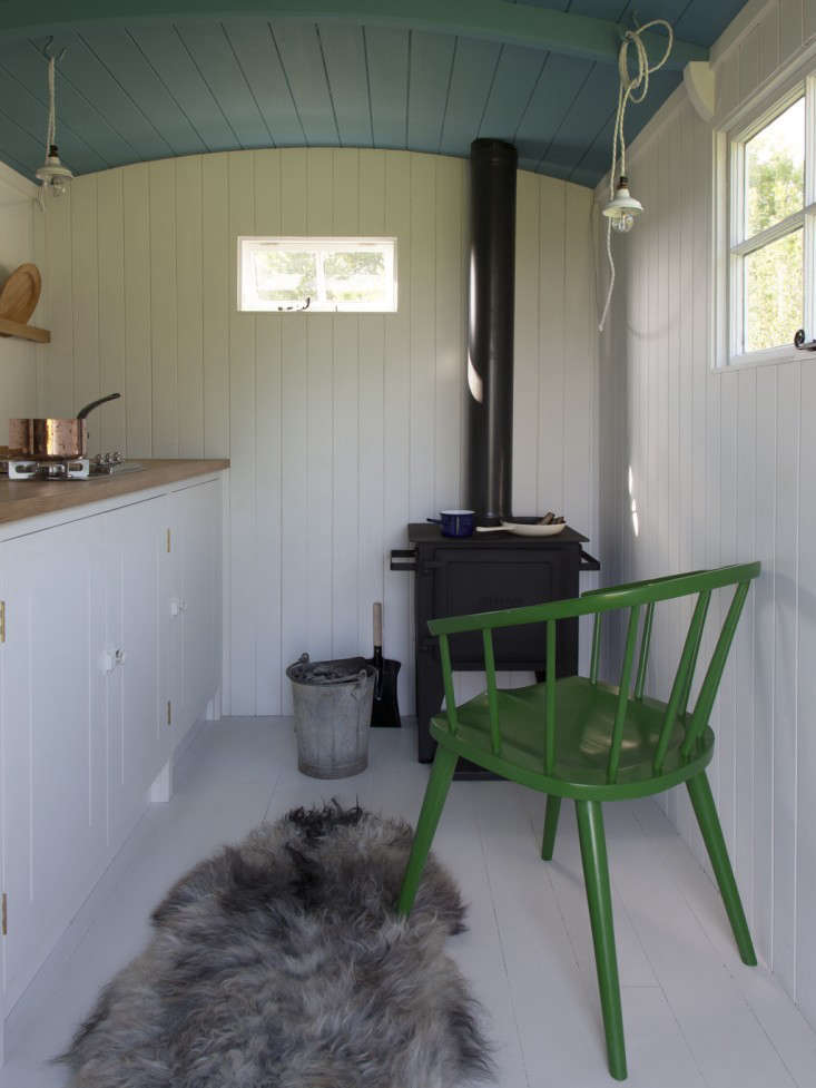 Shiplap cladding looks charming inA British Standard Kitchen in a Shepherd's Hut, and has the added benefit of keeping the little kitchen snug against the wind.