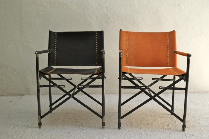 Above: The Chairu0027s Frame Comes In Raw Wrought Iron Or Lacquer Over Metal;  The Leather Is Available In A Blackened Plate Saddle, Black, Brown (left),  ...