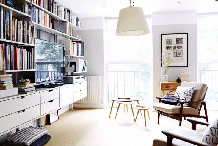 Above The New Counter Height Desk Not Seen In This Photo Extends Into Vitsoe Bookshelves On Long Wall Of Our Living Room