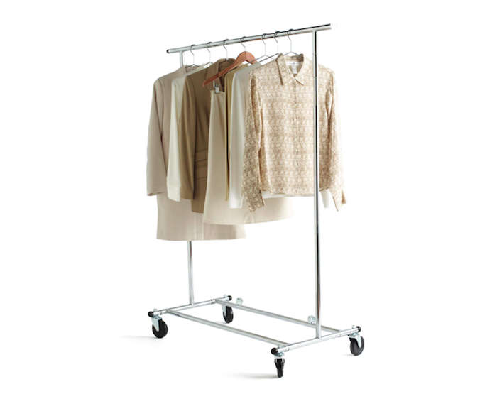 covered clothes rack above from industrial goods company rb wire products the 60inch single garment rack is made from steel tubing in chrome finish 22913 10 easy pieces metal clothing racks remodelista