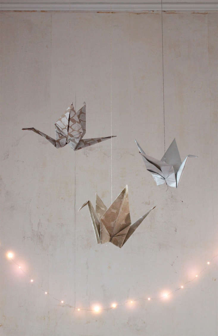 DIY Giant Origami Cranes As Holiday Decor