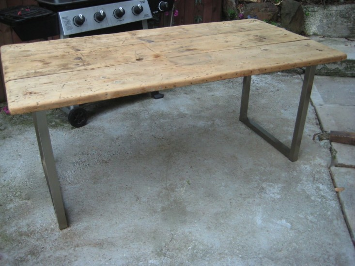 Diy an old meets new dining table for under 125 remodelista - Ikea rustic dining table ...