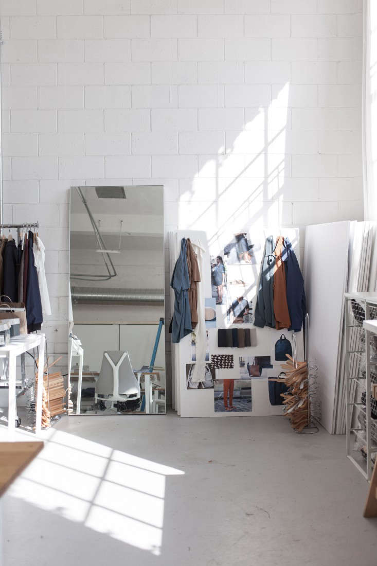 In an early iteration of the office of SF-based fashion retailer Everlane (see their new spacehere), the existing concrete floors were re-covered with a new cement layer, a process called microtopping. For more, see Office Visit: The Everlane Studio in San Francisco.Photograph by June Kim, courtesy of Everlane.