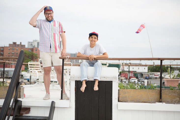 Gabe and Jolie on the top of the boat.