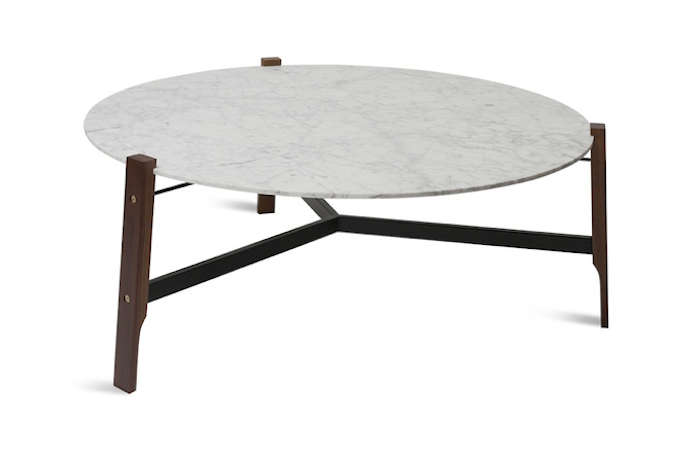 Elegant Above: The Free Range Coffee Table Features A Honed Marble Top With A Base  Of Solid Walnut Joined With Brass Hardware; $699 From BluDot.