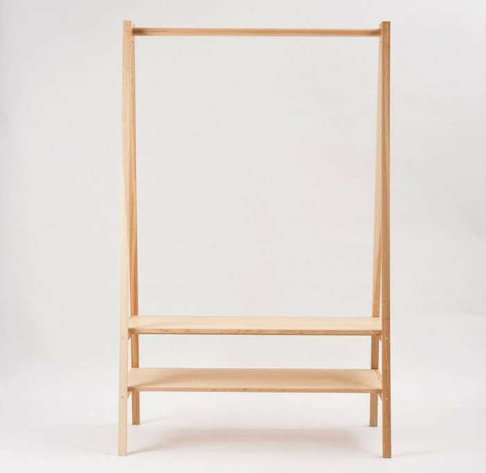 Above: A rack with storage shelves, the made-to-order Blonde American Ash Garment  Rack is a collaboration between New Zealand design shop Douglas and Bec ...