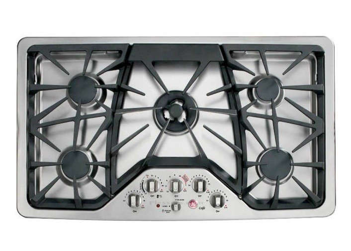 above the ge cafe series 36inch cooktop cgp50setss offers a centerset triring burner and a dedicated simmer burner among its five sealed