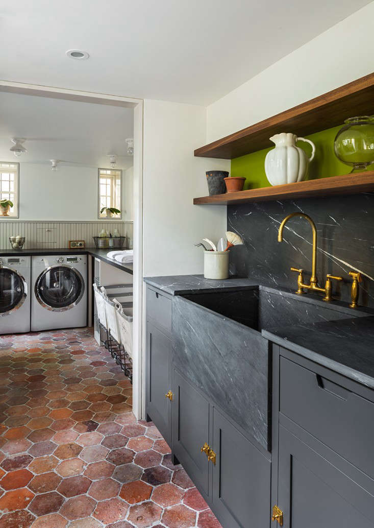 The editors noted the set of rolling carts—for lights, darks, and colors—in this luxe Brooklyn laundry rooms. See what other storage ideas they found from some favorite laundry rooms in 10 Favorite Laundry Rooms with Storage Ideas to Steal. Photograph by Samuel Morgan Photography.