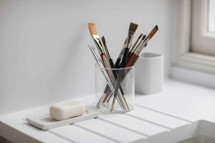 Helen-Lucas-Architects-Alison-Watts-Studio-paint-brushes-Angus-Bremner-Remodelista