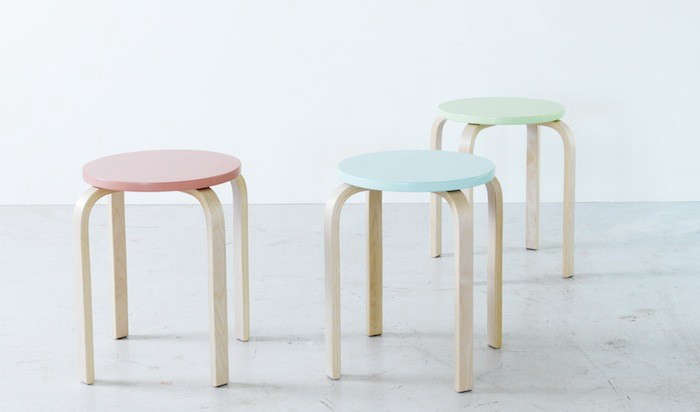 Above The Frosta Stool Curly In Full Birch Ply For 8 Each Uk Is Available With Pastel Painted Seats As Part Of Brí Kig Collection