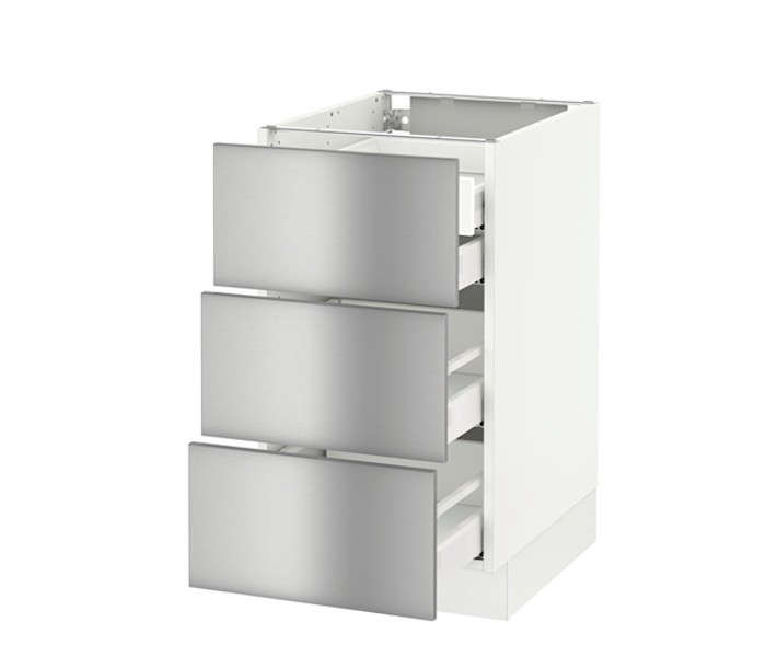 Sektion base cabinet w 3 fronts 4 drawers for Stainless steel kitchen base cabinets
