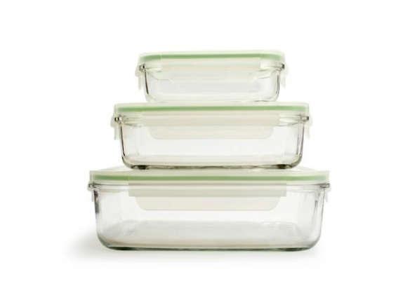 Kinetic Go Green GlassLock Food Storage Set of 3 Rectangle