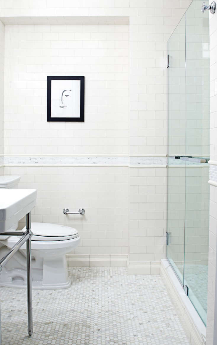 Popular Above In the master bath white hexagonal marble floor tiles and white subway tiles reference bathroom detailing in the neighborhood us ucprewar