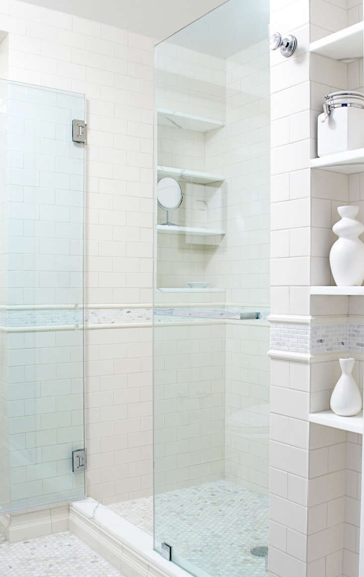 Ideal Above In the master bath white hexagonal marble floor tiles and white subway tiles reference bathroom detailing in the neighborhood us ucprewar